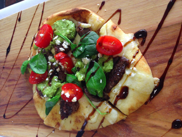 Steak and Avocado Pesto Flabread at Cyra's restaurant in downtown Dalton GA, rated top best restaurant near me